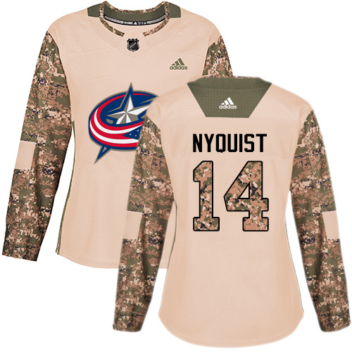 Adidas Blue Jackets #14 Gustav Nyquist Camo Authentic 2017 Veterans Day Women's Stitched NHL Jersey