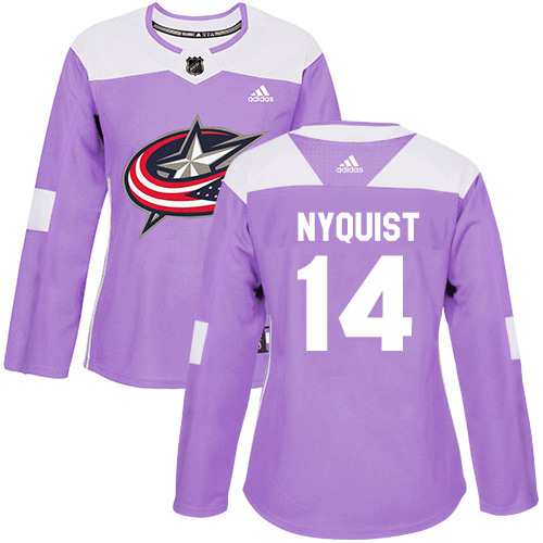Adidas Blue Jackets #14 Gustav Nyquist Purple Authentic Fights Cancer Women's Stitched NHL Jersey