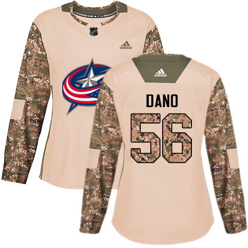 Adidas Blue Jackets #56 Marko Dano Camo Authentic 2017 Veterans Day Women's Stitched NHL Jersey