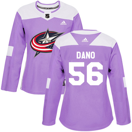 Adidas Blue Jackets #56 Marko Dano Purple Authentic Fights Cancer Women's Stitched NHL Jersey