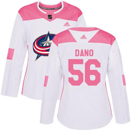 Adidas Blue Jackets #56 Marko Dano White/Pink Authentic Fashion Women's Stitched NHL Jersey