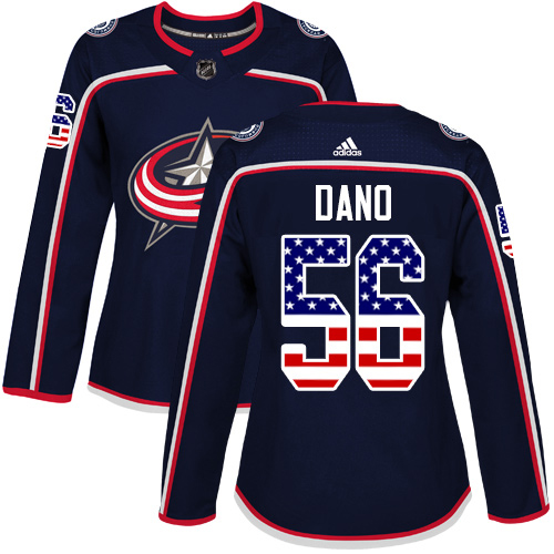 Adidas Blue Jackets #56 Marko Dano Navy Blue Home Authentic USA Flag Women's Stitched NHL Jersey