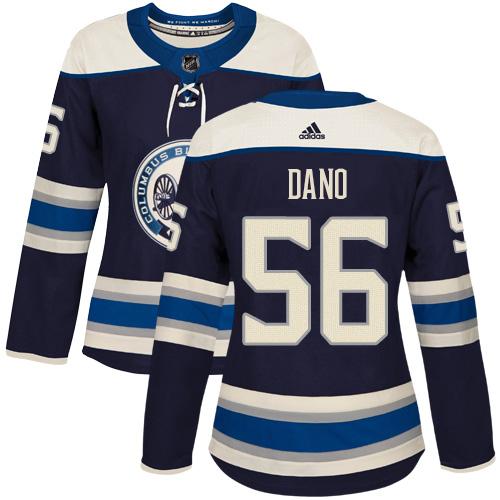Adidas Blue Jackets #56 Marko Dano Navy Alternate Authentic Women's Stitched NHL Jersey