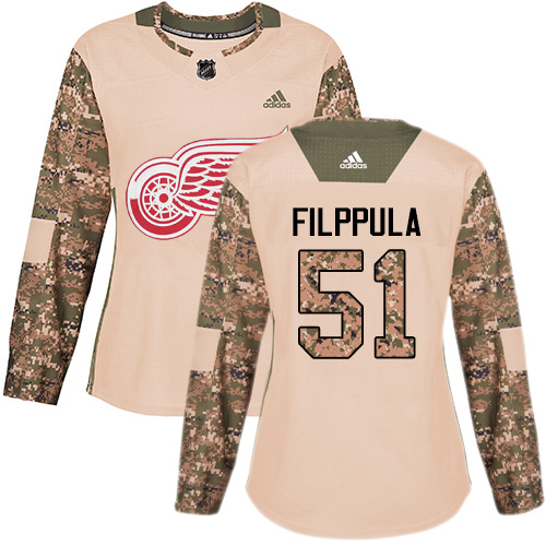 Adidas Red Wings #51 Valtteri Filppula Camo Authentic 2017 Veterans Day Women's Stitched NHL Jersey