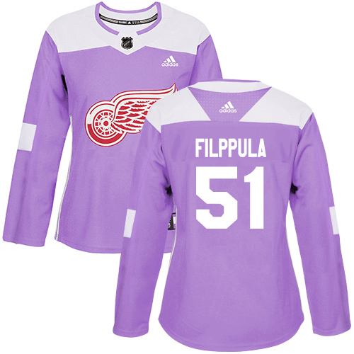 Adidas Red Wings #51 Valtteri Filppula Purple Authentic Fights Cancer Women's Stitched NHL Jersey