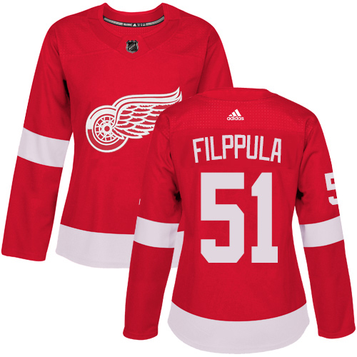 Adidas Red Wings #51 Valtteri Filppula Red Home Authentic Women's Stitched NHL Jersey