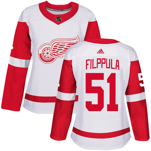 Adidas Red Wings #51 Valtteri Filppula White Road Authentic Women's Stitched NHL Jersey