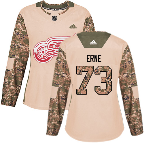Adidas Red Wings #73 Adam Erne Camo Authentic 2017 Veterans Day Women's Stitched NHL Jersey