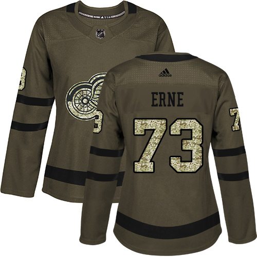 Adidas Red Wings #73 Adam Erne Green Salute to Service Women's Stitched NHL Jersey