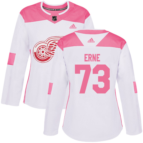 Adidas Red Wings #73 Adam Erne White/Pink Authentic Fashion Women's Stitched NHL Jersey