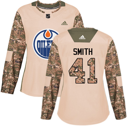 Adidas Oilers #41 Mike Smith Camo Authentic 2017 Veterans Day Women's Stitched NHL Jersey