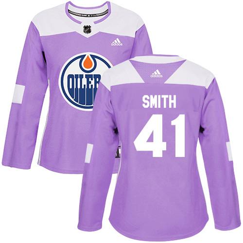 Adidas Oilers #41 Mike Smith Purple Authentic Fights Cancer Women's Stitched NHL Jersey