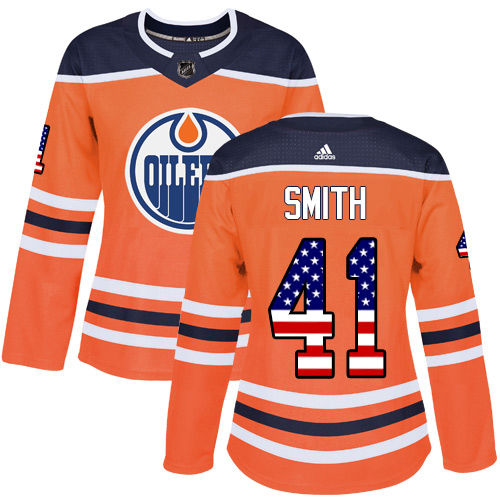 Adidas Oilers #41 Mike Smith Orange Home Authentic USA Flag Women's Stitched NHL Jersey