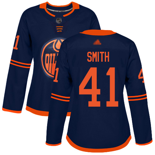 Adidas Oilers #41 Mike Smith Navy Alternate Authentic Women's Stitched NHL Jersey