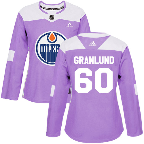 Adidas Oilers #60 Markus Granlund Purple Authentic Fights Cancer Women's Stitched NHL Jersey