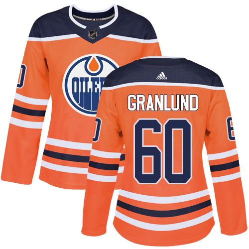 Adidas Oilers #60 Markus Granlund Orange Home Authentic Women's Stitched NHL Jersey