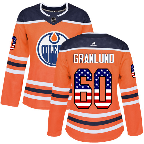 Adidas Oilers #60 Markus Granlund Orange Home Authentic USA Flag Women's Stitched NHL Jersey