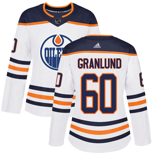 Adidas Oilers #60 Markus Granlund White Road Authentic Women's Stitched NHL Jersey