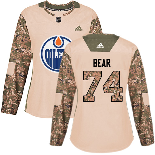 Adidas Oilers #74 Ethan Bear Camo Authentic 2017 Veterans Day Women's Stitched NHL Jersey