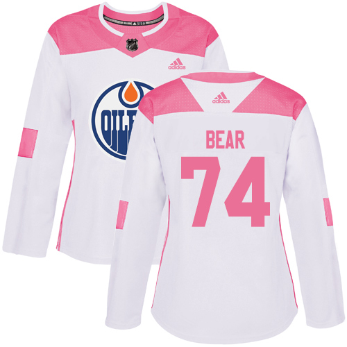 Adidas Oilers #74 Ethan Bear White/Pink Authentic Fashion Women's Stitched NHL Jersey