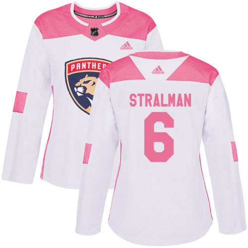 Adidas Panthers #6 Anton Stralman White/Pink Authentic Fashion Women's Stitched NHL Jersey