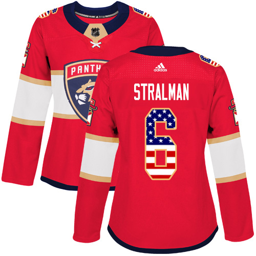 Adidas Panthers #6 Anton Stralman Red Home Authentic USA Flag Women's Stitched NHL Jersey