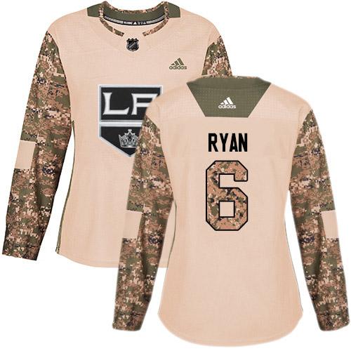 Adidas Kings #6 Joakim Ryan Camo Authentic 2017 Veterans Day Women's Stitched NHL Jersey