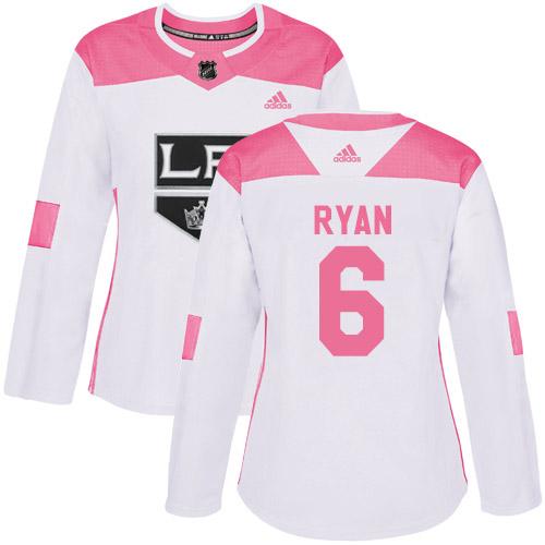 Adidas Kings #6 Joakim Ryan White/Pink Authentic Fashion Women's Stitched NHL Jersey