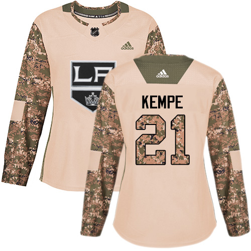 Adidas Kings #21 Mario Kempe Camo Authentic 2017 Veterans Day Women's Stitched NHL Jersey