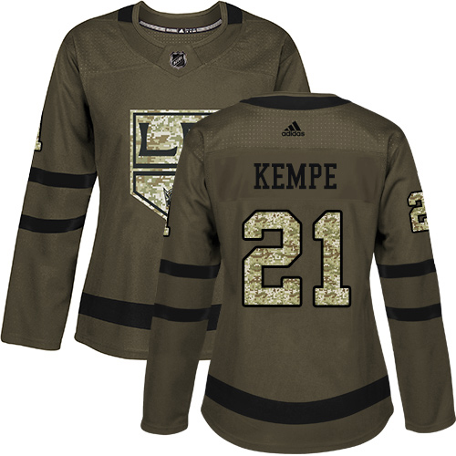 Adidas Kings #21 Mario Kempe Green Salute to Service Women's Stitched NHL Jersey