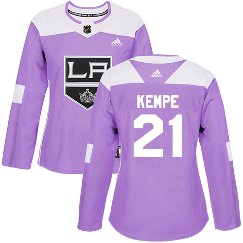 Adidas Kings #21 Mario Kempe Purple Authentic Fights Cancer Women's Stitched NHL Jersey