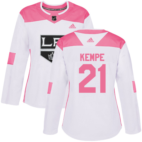 Adidas Kings #21 Mario Kempe White/Pink Authentic Fashion Women's Stitched NHL Jersey