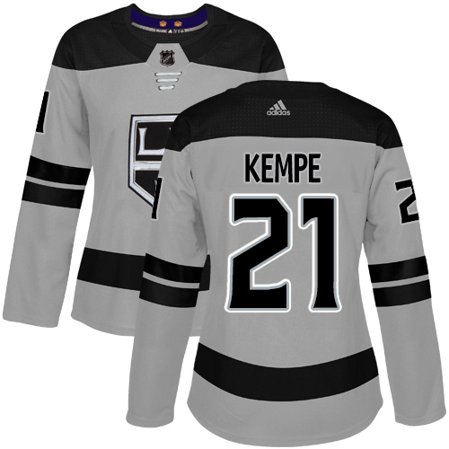 Adidas Kings #21 Mario Kempe Gray Alternate Authentic Women's Stitched NHL Jersey