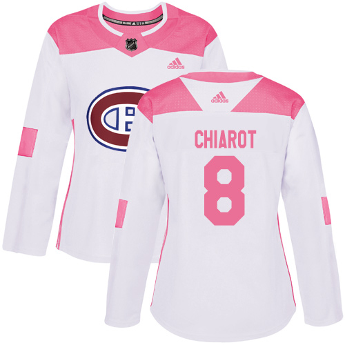 Adidas Canadiens #8 Ben Chiarot White/Pink Authentic Fashion Women's Stitched NHL Jersey