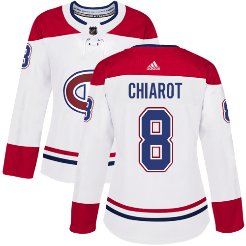 Adidas Canadiens #8 Ben Chiarot White Road Authentic Women's Stitched NHL Jersey
