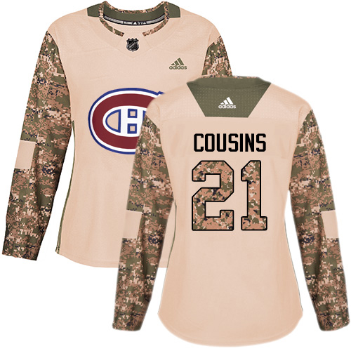 Adidas Canadiens #21 Nick Cousins Camo Authentic 2017 Veterans Day Women's Stitched NHL Jersey