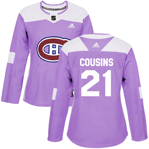 Adidas Canadiens #21 Nick Cousins Purple Authentic Fights Cancer Women's Stitched NHL Jersey