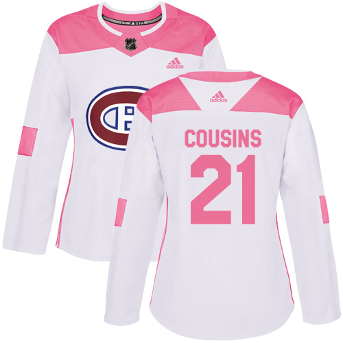 Adidas Canadiens #21 Nick Cousins White/Pink Authentic Fashion Women's Stitched NHL Jersey