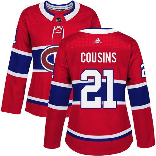 Adidas Canadiens #21 Nick Cousins Red Home Authentic Women's Stitched NHL Jersey