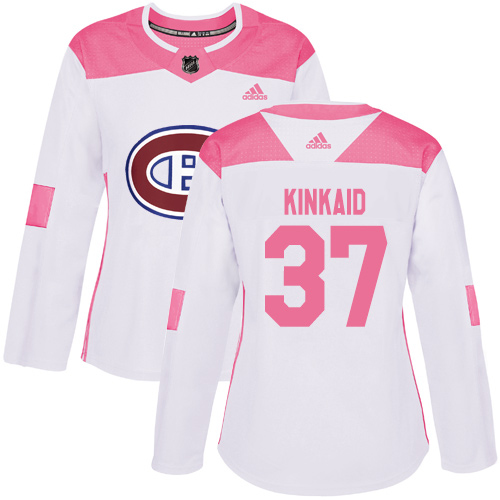 Adidas Canadiens #37 Keith Kinkaid White/Pink Authentic Fashion Women's Stitched NHL Jersey