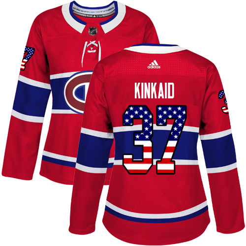 Adidas Canadiens #37 Keith Kinkaid Red Home Authentic USA Flag Women's Stitched NHL Jersey