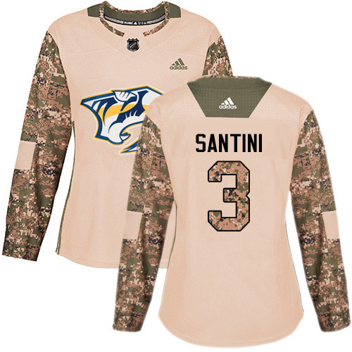 Adidas Predators #3 Steven Santini Camo Authentic 2017 Veterans Day Women's Stitched NHL Jersey