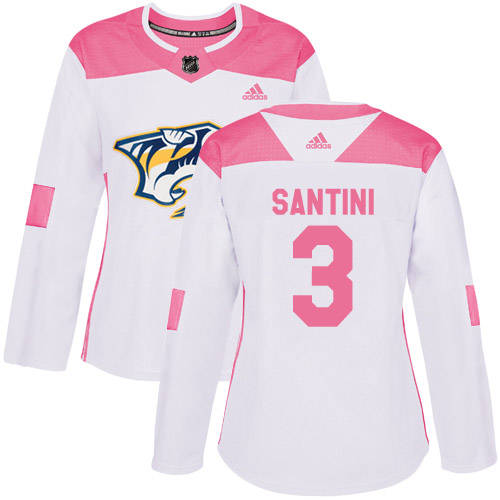 Adidas Predators #3 Steven Santini White/Pink Authentic Fashion Women's Stitched NHL Jersey