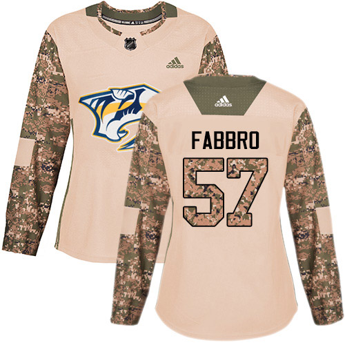 Adidas Predators #57 Dante Fabbro Camo Authentic 2017 Veterans Day Women's Stitched NHL Jersey