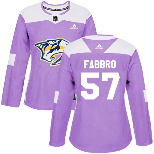 Adidas Predators #57 Dante Fabbro Purple Authentic Fights Cancer Women's Stitched NHL Jersey