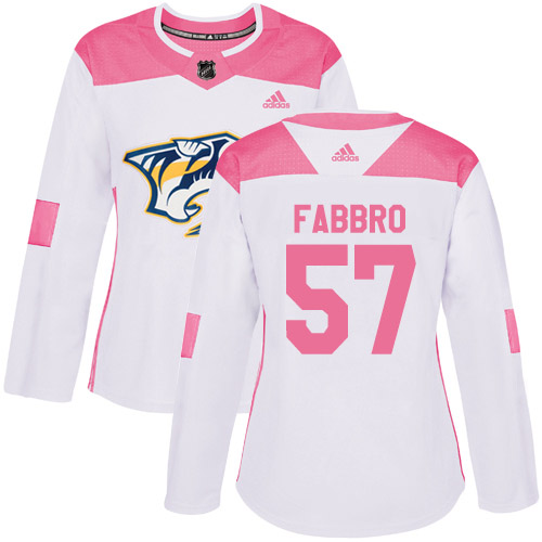 Adidas Predators #57 Dante Fabbro White/Pink Authentic Fashion Women's Stitched NHL Jersey