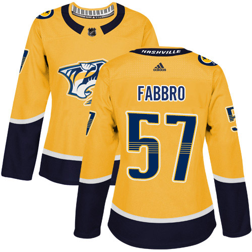 Adidas Predators #57 Dante Fabbro Yellow Home Authentic Women's Stitched NHL Jersey