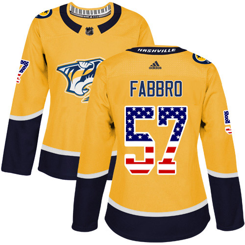 Adidas Predators #57 Dante Fabbro Yellow Home Authentic USA Flag Women's Stitched NHL Jersey