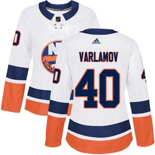 Adidas Islanders #40 Semyon Varlamov White Road Authentic Women's Stitched NHL Jersey