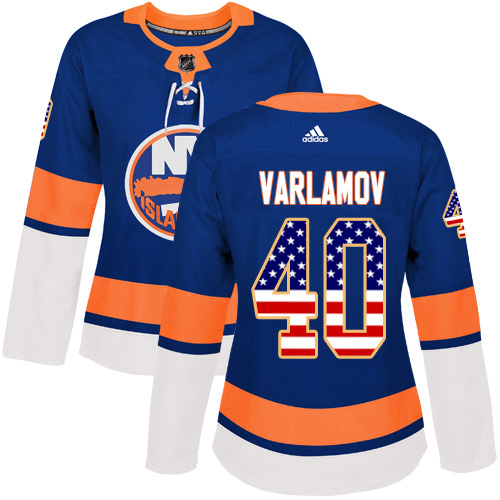 Adidas Islanders #40 Semyon Varlamov Royal Blue Home Authentic USA Flag Women's Stitched NHL Jersey